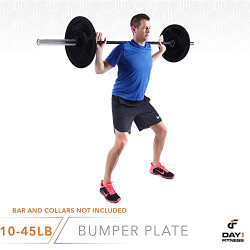 """Day 1 Fitness Olympic Bumper Weighted Plate 2"""" for Barbells, Bars – 10 lb Single Plate - Shock-Absorbing, Minimal Bounce Steel Weights with Bumpers for Lifting, Strength Training, and Working Out by Day 1 Fitness (Image #7)"""