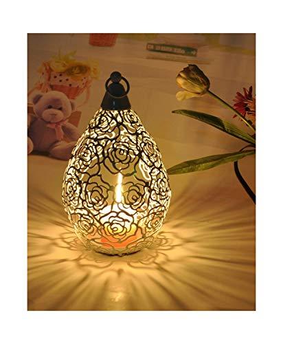 161626Cm Metal an Rose Embossed Votive Candle Holder Wedding Candlestick Hanging Lantern Home Wedding Decorative Candle ()