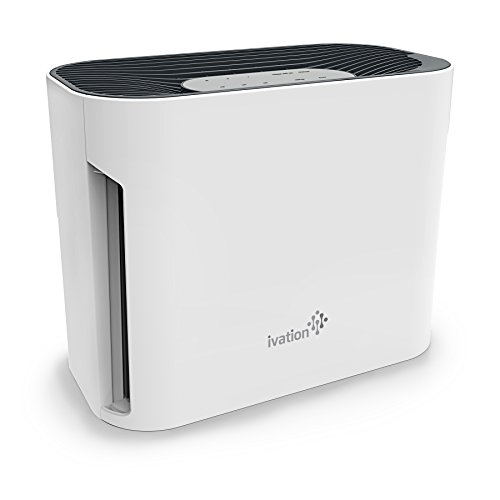 Ivation Small Desktop 3-in1 True HEPA Air Purifier Sanitizer and Deodorizer with UV Light – True HEPA Filter, Active Carbon Filter and UV Light Cleaner for Home or Office – 108 Sq/Ft Coverage