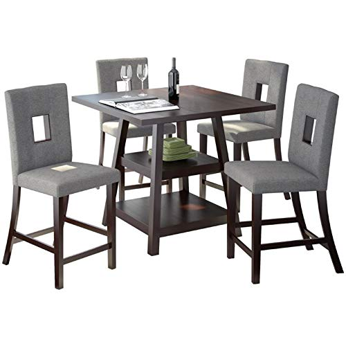 (CorLiving DIP-490-Z1 Bistro 5 Piece 36'' Counter Height Dining Set, Cappuccino/Pewter Grey)