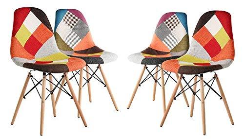 4 Sedie In Legno.Maury S Set 4 Sedie In Legno Tessuto Patchwork Design Mix Ideali Per Sala Da Pranzo Cucina Ufficio