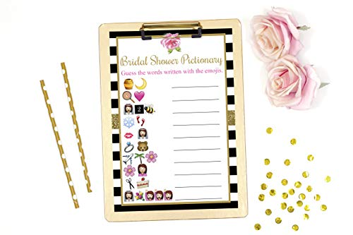 Bridal Shower Pictionary, Bridal Shower Emoji, Black and White Bridal Shower, Bridal Shower Games, 25 Games and 1 Answer Key Included -