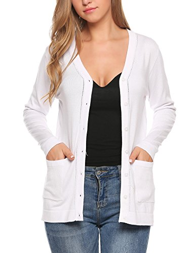 Jersey V-neck Cardigan - ELESOL Women's Boyfriend Pocket Cardigan Jersey Shrug White1 M