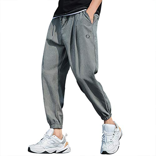 Men's Open Bottom Sweatpants Lightweight Wrinkle-Free Drawstring Yoga Workout Running Pants Gray