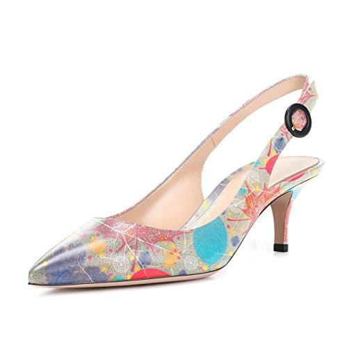 d heel Kitten Escarpins Femme Multicolore Pumps Slingback Sandales Sexy Ubeauty Aiguille Femmes Talon 7BqfX