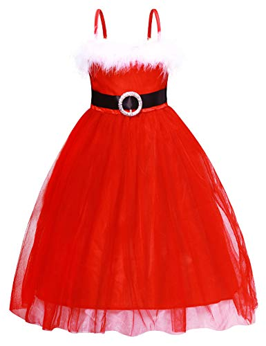 Cotrio Christmas Costume Dress Up for Girls Princess Tutu Dresses Xmas Pageant Party Fancy Dress Red Evening Gowns Size 4T (110, 3-4Years) for $<!--$16.99-->