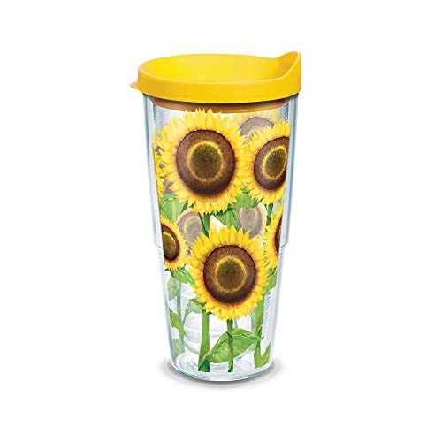 (Tervis Sunflower Wrap Tumbler with Yellow Lid, 24-Ounce)
