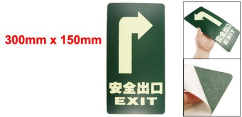 EbuyChX 300mm x 150mm Turnning Right Plastic Luminous Emergency Exit Sign