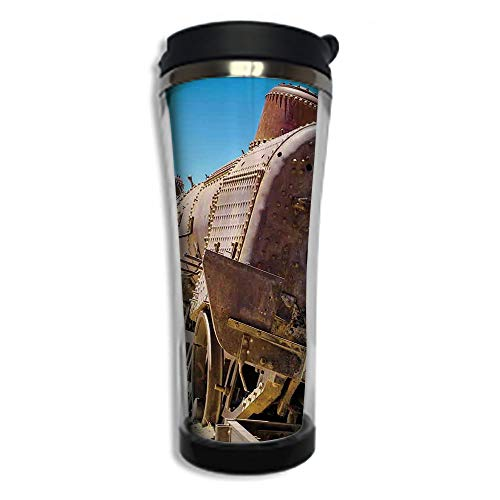 Photo Mug with Lid - 14.2OZ(420 ml) Stainless Steel Travel Tumbler, Makes a Great Gift by,Vintage,Rusty Old Abandoned Steam Train Locomotive Cemetery Railroad Wreck Picture Print D ()