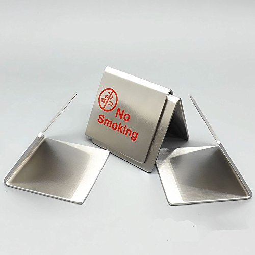 10 Set Small Size Restaurant Double Side Stainless Steel No Smoking Tent Sign