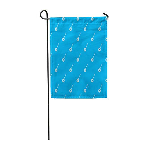 Semtomn Garden Flag 28x40 Inches Print On Two Side Polyester Acoustic Banjo Pattern in Blue Color for Any Geometric American Home Yard Farm Fade Resistant Outdoor House Decor Flag