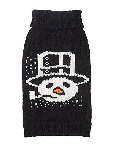 Fab Pipe - Fab Dog Holiday Snowman Pipe Knit Turtleneck Dog Sweater, Black, 8