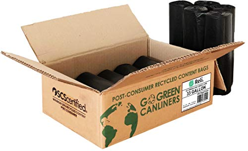 Reli. Recyclable Eco-Friendly Trash Bags, 33 Gallon (150 Count) - Made From Recycled Content (SCS Certified) - Go Green Canliners - Environment-Friendly Garbage Bags (30 Gallon - 35 Gallon) (Black) by Reli. (Image #1)