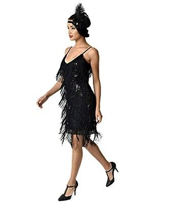 Unique Vintage 1920s Style Black Cecile Tiered Fringe Flapper Dress