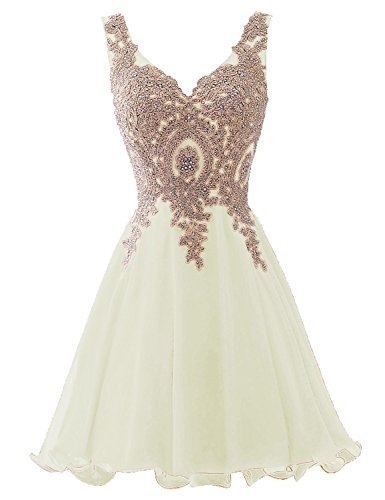 Sarahbridal Seniors Gold Lace Applqie Homecoming Dresses Mine Chiffon Beaded Cocktail Gowns Ivory US6