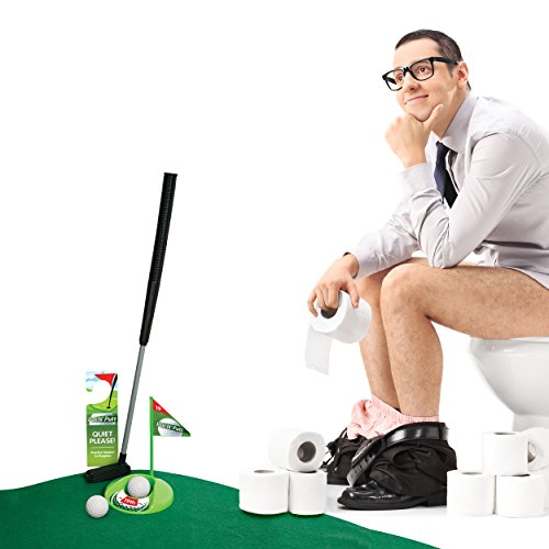 Mini Golf Set Toilet Game – Indoor Golf Practice Putting as Potty Putter Bathroom Games Perfect Gag Gifts for Men and Women - Funny Novelty Toy 1 - Top Golf