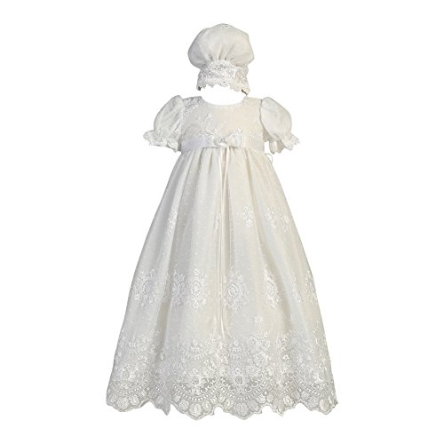 Lito Baby Girls White Embroidered Tulle Gown Bonnet Baptism Set 0-3M