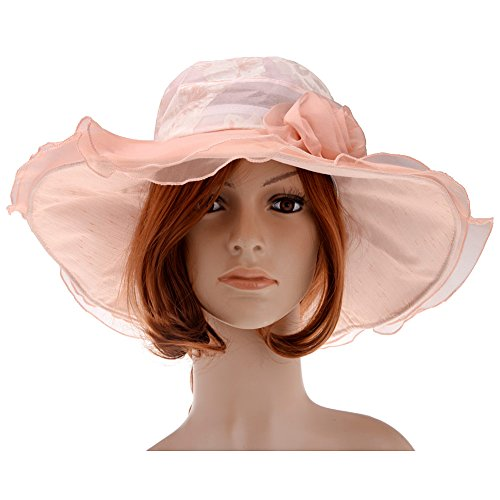 Southern Belle Hat (Vbiger Women Floral Pattern Chiffon Layer Kentucky Derby Wide Brim Hat ( Peach Pink))