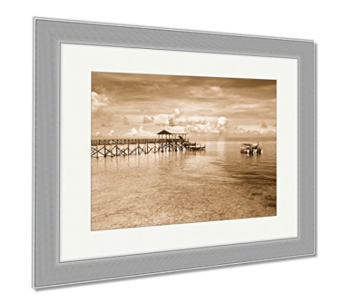 Ashley Framed Prints Boats At Dive Site In Sipadan Island Sabah Malaysia, Wall Art Home Decoration, Sepia, 34x40 (frame size), Silver Frame, - In Malaysia Sites