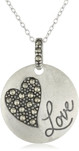 Love Disc Silver (Sterling Silver Genuine Marcasite Heart