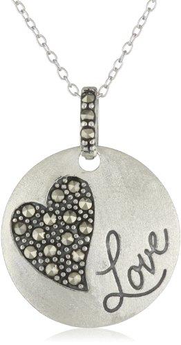 Love Silver Disc (Sterling Silver Genuine Marcasite Heart