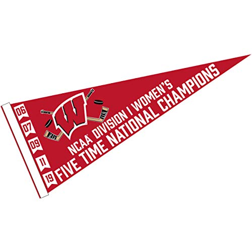 (College Flags and Banners Co. Wisconsin Badgers 2019 Womens 5 Time Hockey Champions Pennant)