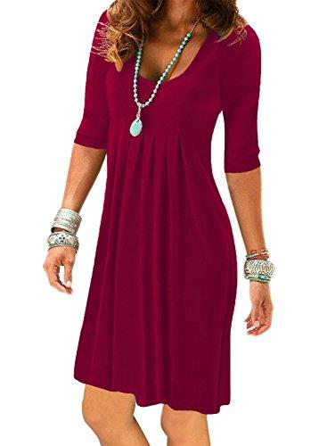 Charming Tunic Dress - Women's Half Sleeve Empire Waist Pleated Dress Casual Plain Swing Dresses Knee Length