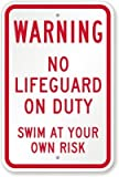 Warning: No Lifeguard On Duty, Swim At Your Own Risk Sign, 18'' x 12''