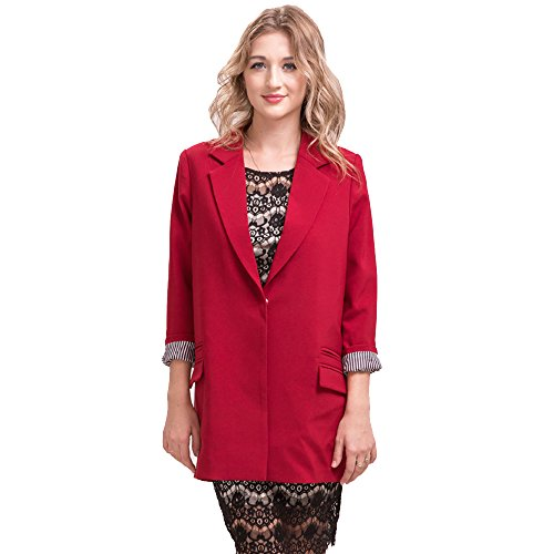 Double Pocket Button (BELLA PHILOSOPHY Women's Open Longline Duster Blazer Long Jacket Long Sleeve Button Double Pockets Coat Plus Size Outwear (XXXL, Winered))