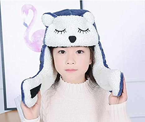 051132ed001 Kid Trapper Hat Set Children Winter Bomber Hat with Ear Flap Girl Cartoon  Animal Pilot Aviator Detachable Face Mask Boy Warm Fleece Scarf Neck  Windproof Ski ...