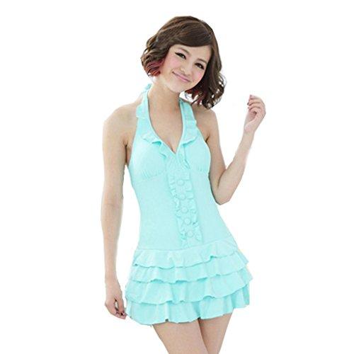 TXS Women's Plus Size Deep-v Layered Ruffle One-piece Swimsuit Us 6 Light Blue