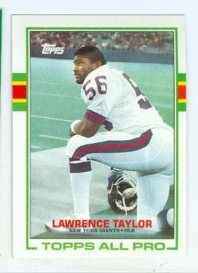 (Lawrence Taylor football card (New York Giants Hall of Fame LT) 1989 Topps #166 All Pro)