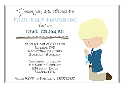 - The Melange Market Customized Boys (Blonde Hair) First Communion Invitation