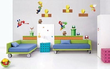 Amazon.de: Kinderzimmer Wandaufkleber Super Mario Bros Luigi ...