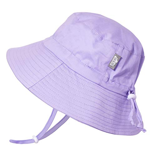 - JAN & JUL Toddler Boys Girls Cotton Bucket Sun Hats 50 UPF, Drawstring Adjustable, Stay-on Tie (M: 6-24m, Lavender)