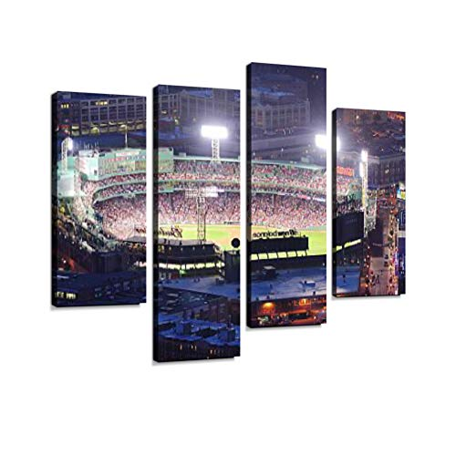 Boston Fenway Park at Night Canvas Wall Art Hanging Paintings Modern Artwork Abstract Picture Prints Home Decoration Gift Unique Designed Framed 4 Panel ()