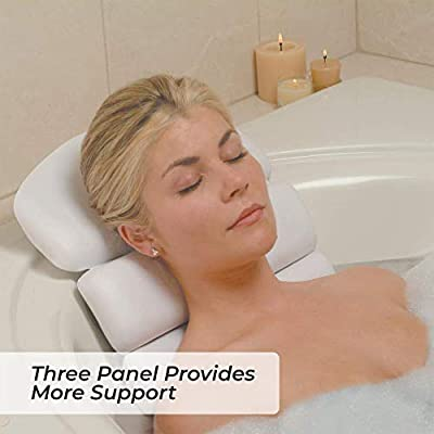 Luxury Spa Bath Pillow 3Panel Bathtub Cushion for Head Neck and Back Support  Soft and Large 145 x