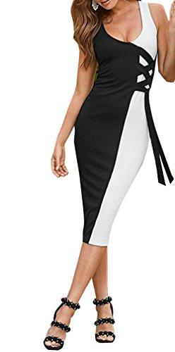 Sommer Midi Kleid Damen Mode Pastell Ärmellos Patchwork Kleider mit Bandagen Sexy Etui Kleider Wickelkleider Partykleid Abendkleider Cocktailkleid Ballkleid Schwarz AcxfGRk6iV