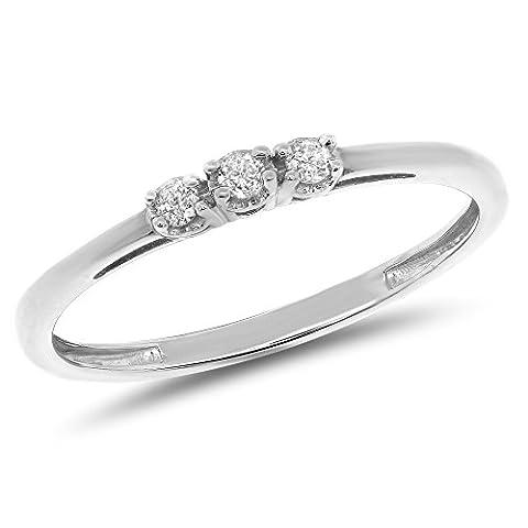 0.06 Carat (ctw) 10k Gold Round Cut Diamond Ladies 3 Three Stone Petite Engagement Promise Ring 1/20 CT - White-gold, Size - Cut Halo Petite Diamond