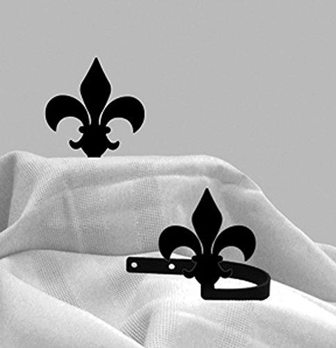 Iron Fleur-De-Lis Hold Tie Backs -Set of 2-Black - Lis Holdback