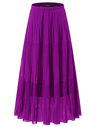 NASHALYLY High Waist Pleated A Line Long Skirt - Chiffon Flared Maxi Skirts(Purple, L)