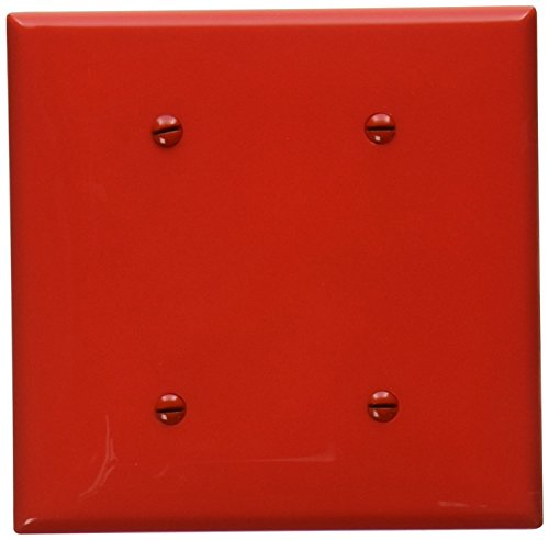 Blank Nylon Red - Leviton 80734-R 2-Gang No Device Blank Wallplate, Standard size, Thermoplastic Nylon, Strap Mount, Red