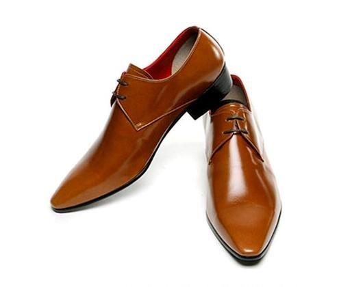 Happyshop(TM) Men's Leather Lace up Pointy Toe Oxford Shoes Fashion Bright Color Casual Work Dress Business Shoes Brown 8L8kE