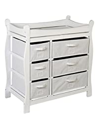 Badger Basket White Sleigh Style Changing Table with 6 Baskets BOBEBE Online Baby Store From New York to Miami and Los Angeles