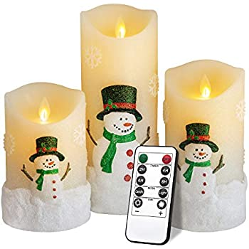 Yinuo Mirror Snowman LED Flameless Candles Battery Operated Pillar Candle Moving Effect Flickering Candles with Remote Timer for Christmas Decoration,4