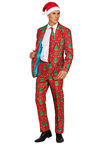Suitmeister Christmas Suits for Men in Different Prints - Ugly Xmas Sweater Costumes Include Jacket Pants & Tie + Free -
