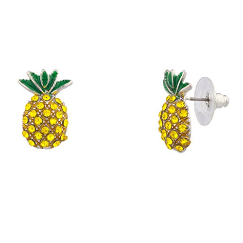 Lux Accessories Fruit Cocktail Pave Pineapple Stud (Pineapple Jewelry)