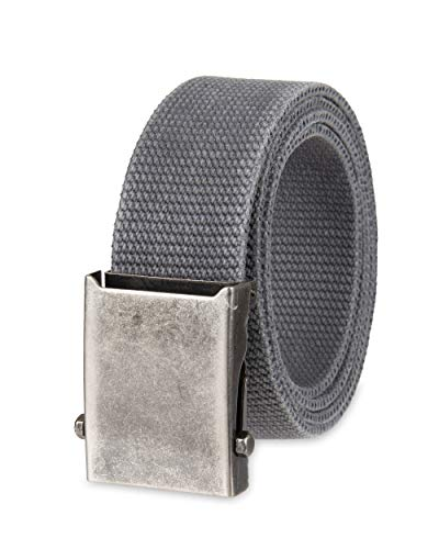 Columbia Men's Military Web Belt - Casual for Jeans Adjustable One Size Cotton Strap and Metal Plaque Buckle,Charcoal,One Size