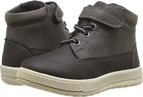 Boots Big Feet - Deer Stags Boys' Niles Memory Foam Dress Casual Comfort High Top Sneaker Boot, Black/Grey, 6 Medium US Big Kid