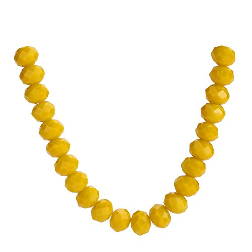 (500Pcs 3mm 4mm 6mm 5040# Faceted Loose Rondelle Crystal Glass Beads Spacer Lot Colors U Pick (6mm, Opaque Yellow))